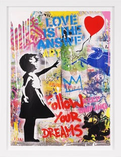 'Balloon Girl, Love Is The Answer' Street Pop Art Painting, Unique, 2021