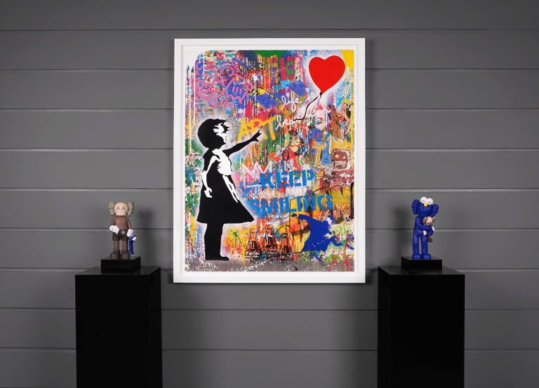 'Balloon Girl' Street Pop Art Painting, Unique, 2021 - Beige Abstract Painting by Mr. Brainwash