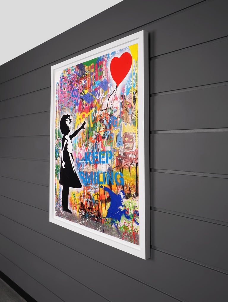 The stately unique 'Balloon Girl' street pop art painting on paper by french contemporary street-artist Mr. Brainwash, was created in 2021 in his signature style of layering paint, stencil, and mixed media on paper to create a cultural commentary in