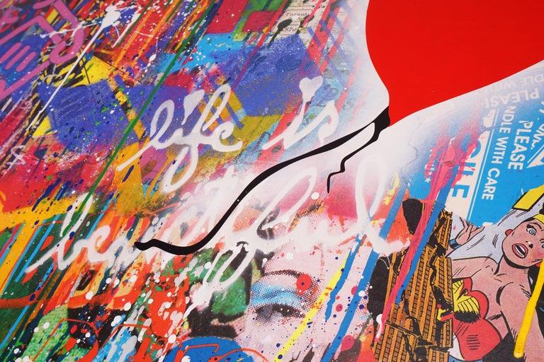 'Balloon Girl' Street Pop Art Painting, Unique, 2021 5