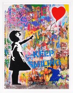 'Balloon Girl' Street Pop Art Painting, Unique, 2021