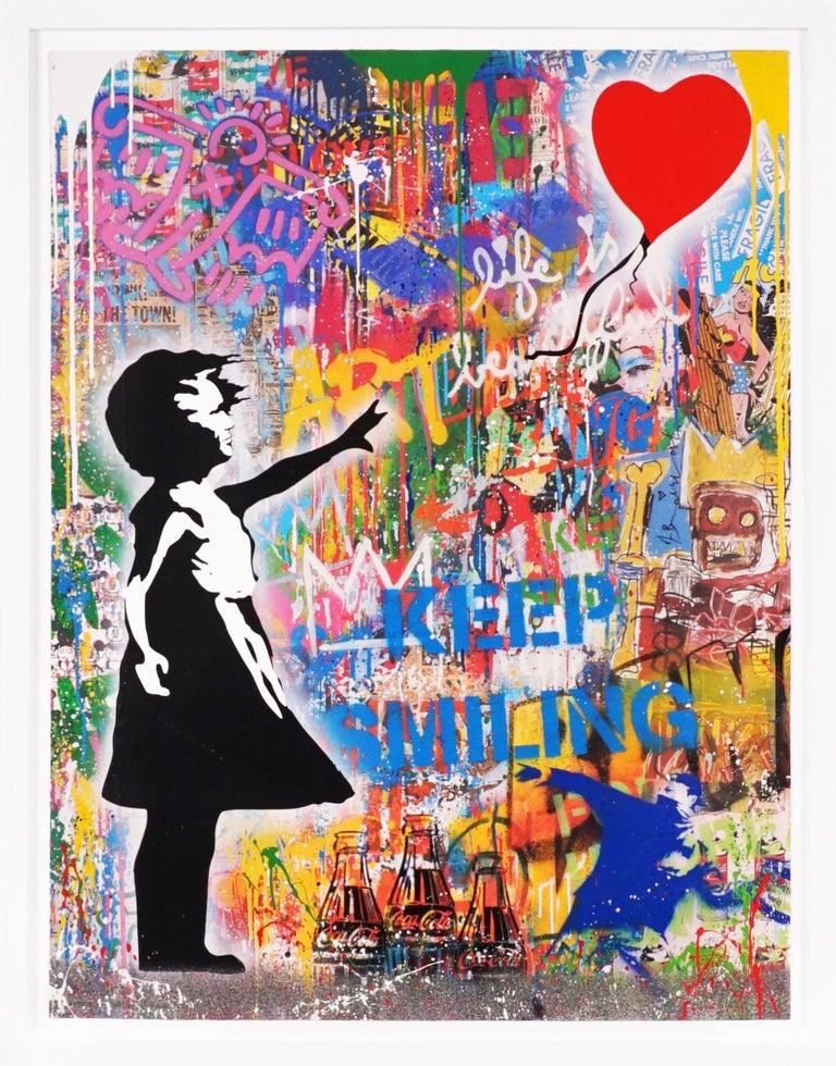 Mr. Brainwash Abstract Painting - 'Balloon Girl' Street Pop Art Painting, Unique, 2021
