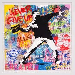 'Banksy Thrower' Street Pop Art, Unique Painting, 2021
