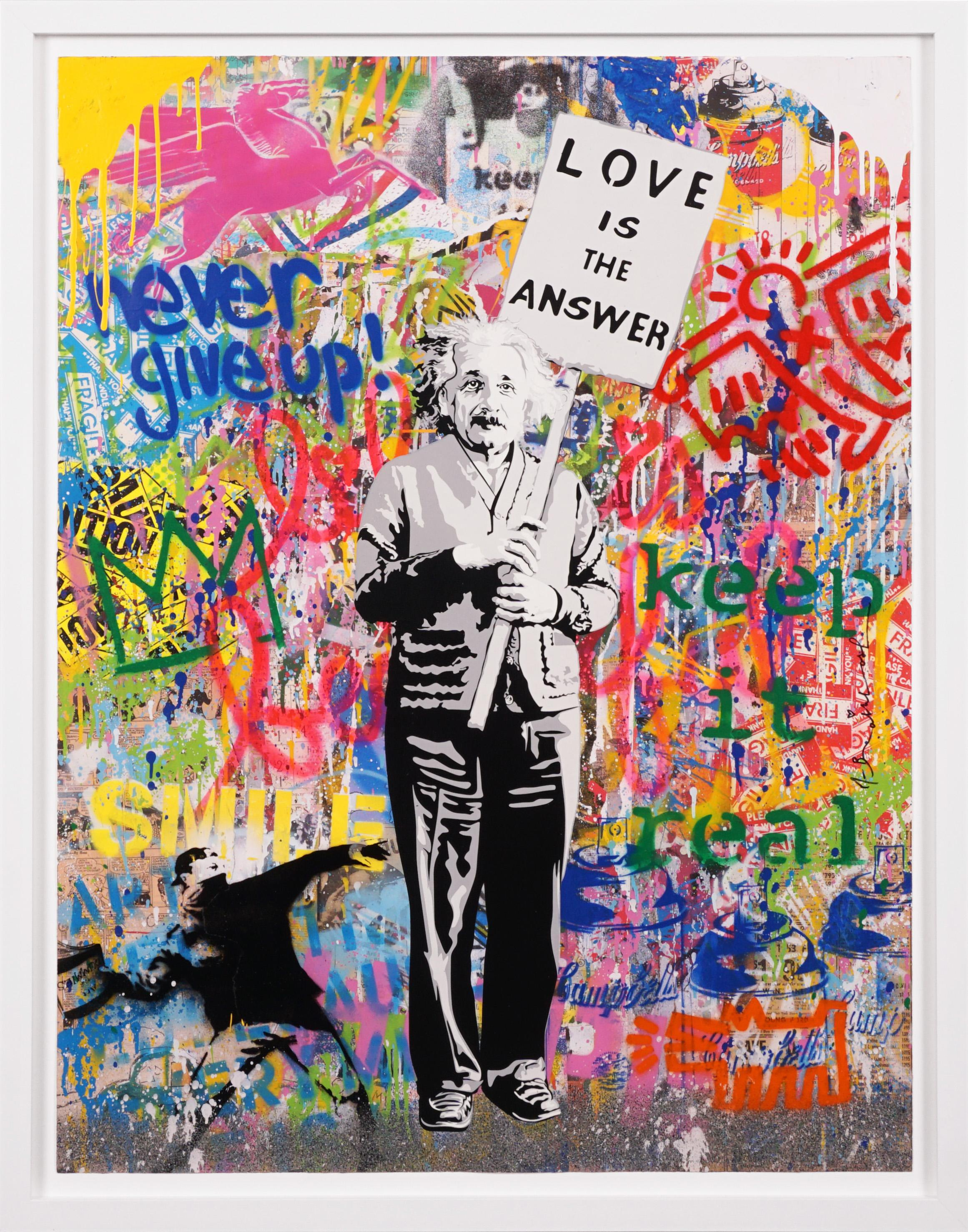 Einstein 'Love Is The Answer' Street Pop Art, Unique Painting, 2021