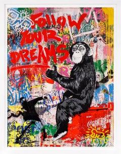 'Follow Your Dreams' Monkey, Street Art Painting, Unique, 2021
