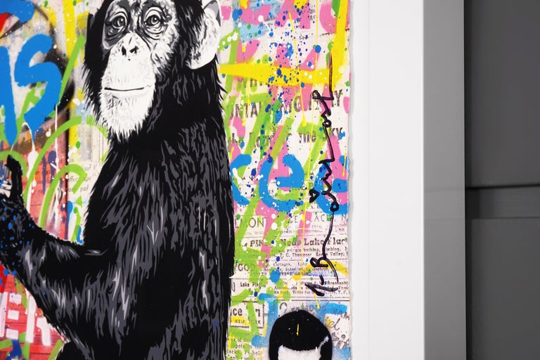 'Keep It Real Monkey' Unique Street Pop Art Painting, 2021 For Sale 5