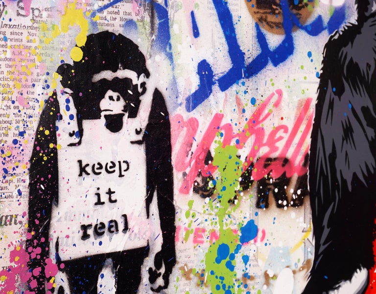 'Keep It Real Monkey' Unique Street Pop Art Painting, 2021 For Sale 2