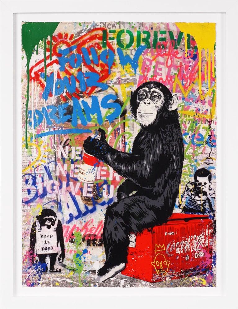 'Keep It Real Monkey' Unique Street Pop Art Painting, 2021 - Mixed Media Art by Mr. Brainwash