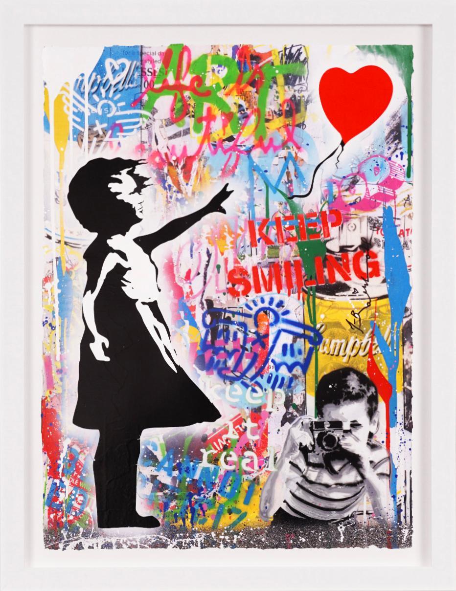 Mr. Brainwash, 'Balloon Girl' Keep Smiling, Street Art, Unique Painting, 2021