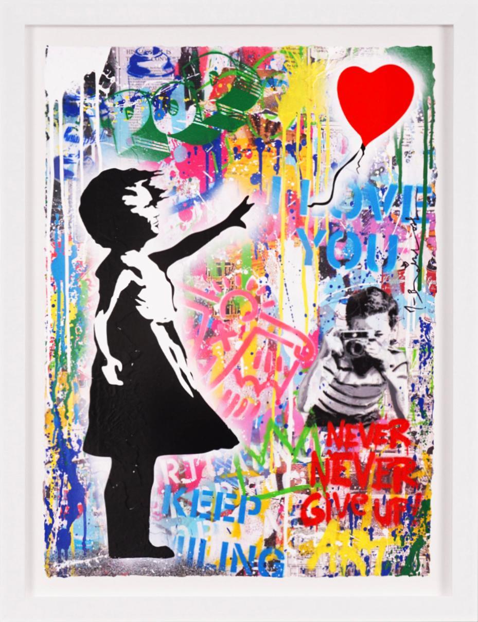 Mr. Brainwash, 'Balloon Girl' I Love You, Unique Painting, 2021