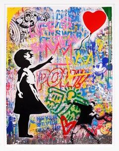 Mr. Brainwash, 'Balloon Girl' Street Pop Art, Unique Painting, 2021