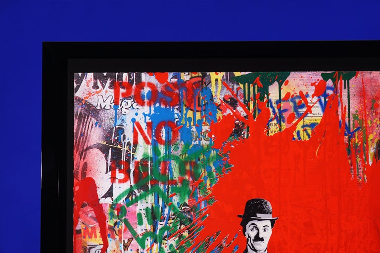 The 'Juxtapose' by french contemporary artist Mr. Brainwash was created in 2020 in his signature style of layering paint, stencil, and mixed media on paper to create a cultural commentary in vibrant visual format. This piece is a unique work, a