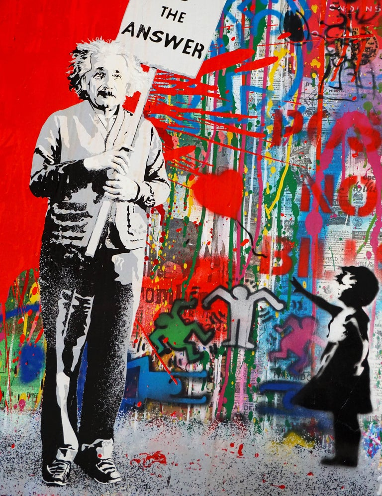 'Juxtapose' by french contemporary artist Mr. Brainwash was created in 2020 in his signature style of layering paint, stencil, and mixed media on paper to create a cultural commentary in visual format. This piece is a unique work, with bold layering