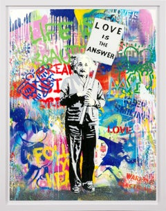 Mr. Brainwash, 'Love Is The Answer' Einstein Street Art, Unique Painting, 2021