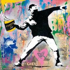 Banksy Thrower - Mr. Brainwash, pop art, street art, silkscreen, mixed media.