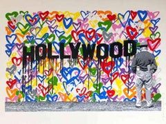 """""""Hollywood"""" Hollywood; 2016; Silkscreen and stencil on paper; 22 1/2 x 30"""