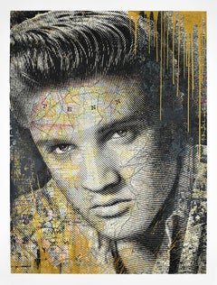 MR. BRAINWASH - King of Rock (Gold) Elvis Presley Screen Print. Street, Pop Art.