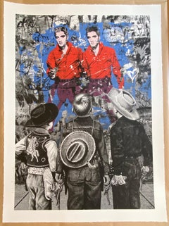 "Mr. Brainwash ""Playing Cowboy"" Elvis Presley 85th Birthday Screen Print 2020"