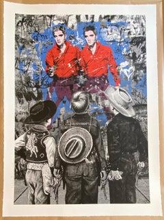 "Mr. Brainwash ""Playing Cowboy"" Elvis Presley 85th Birthday Screen Print 2020"