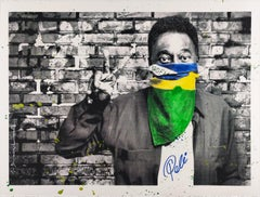 The King Pele, Flag Portrait, Mr. Brainwash, Handfinished Street Art Print