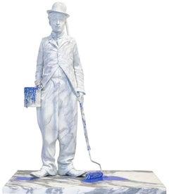 Chaplin Splash-Blue by Mr. Brainwash