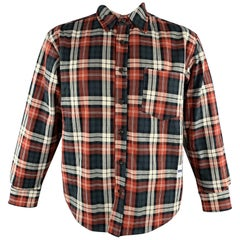 MR. COMPLETELY Size L Red Plaid Padded Cotton Shirt Jacket