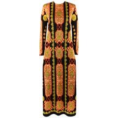 MR DINO c.1970's Baroque Mosaic Signature Print Long Sleeve Maxi Dress