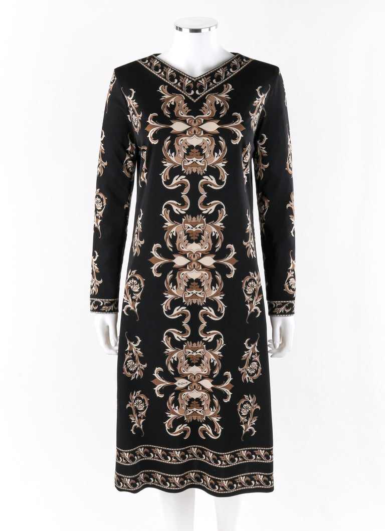 MR DINO c.1970's Black Brown Cream Signature Print Long Sleeve Belted Shift Dress  Circa: 1970's Label(s): Mr. Dino, I.Maginin & Co.   Designer: Max Cohen Style: Shift dress Color(s): Shades of black, tan, brown and cream Lined: No Unmarked Fabric