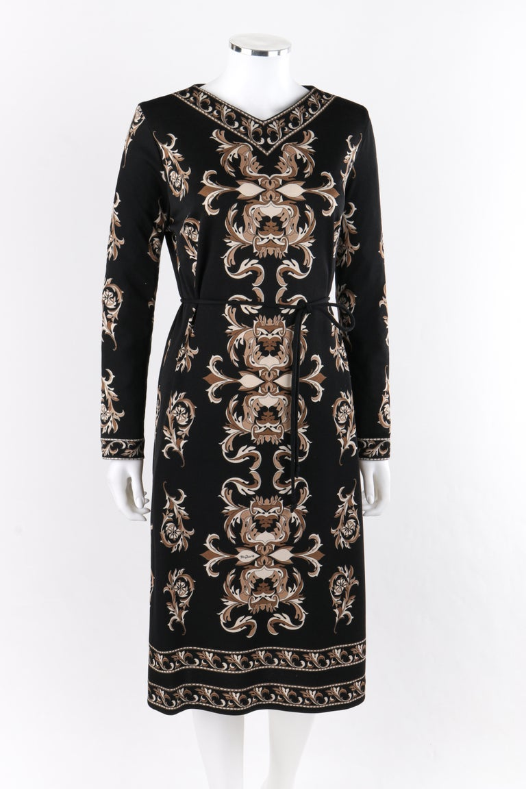 MR DINO c.1970s Black Brown Cream Signature Print Long Sleeve Belted Shift Dress In Good Condition For Sale In Thiensville, WI