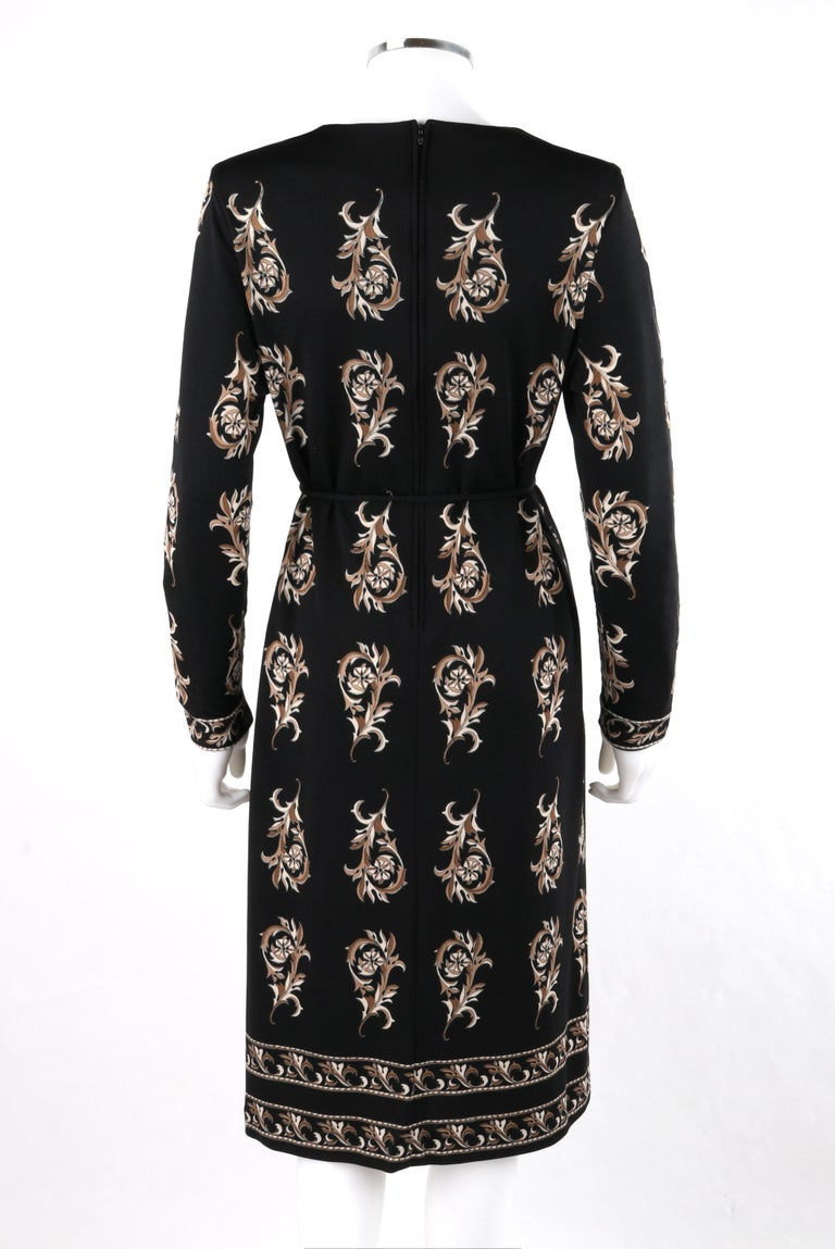 MR DINO c.1970s Black Brown Cream Signature Print Long Sleeve Belted Shift Dress For Sale 1