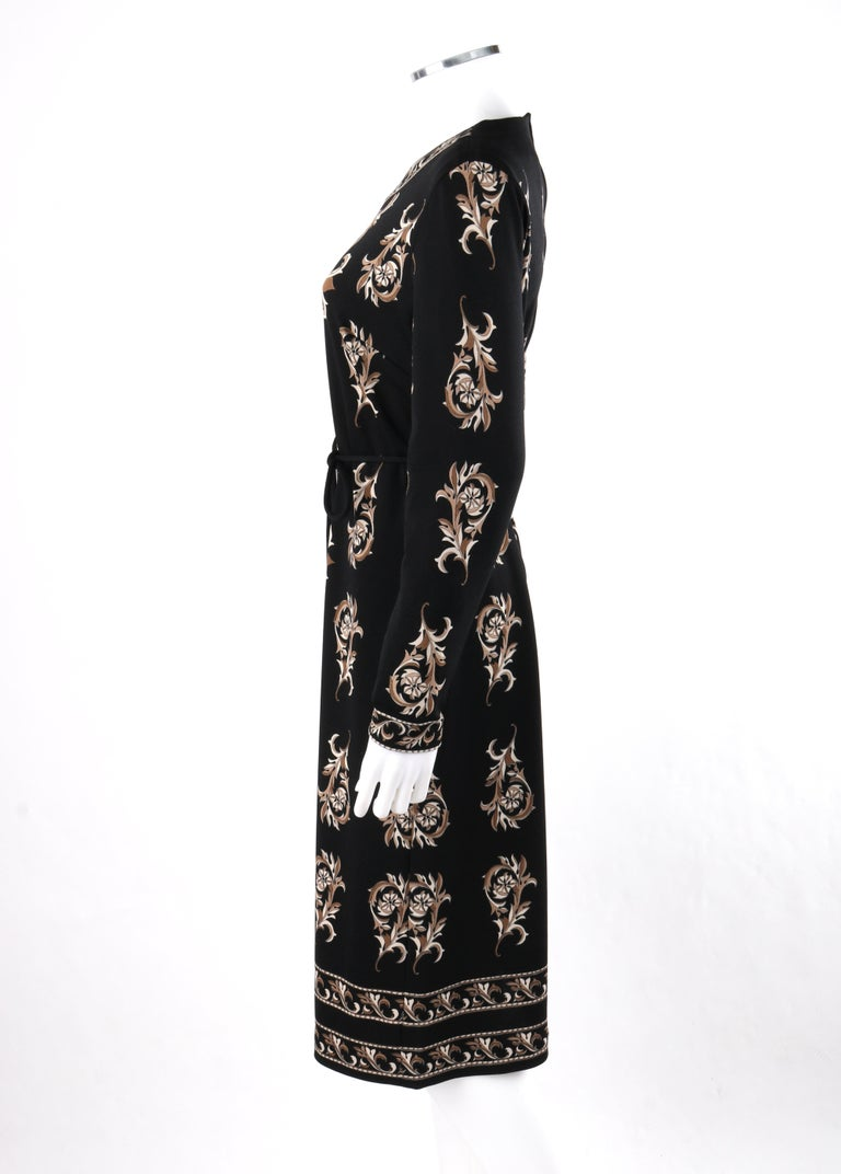 MR DINO c.1970s Black Brown Cream Signature Print Long Sleeve Belted Shift Dress For Sale 2