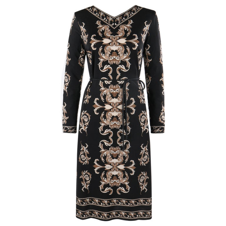 MR DINO c.1970s Black Brown Cream Signature Print Long Sleeve Belted Shift Dress For Sale