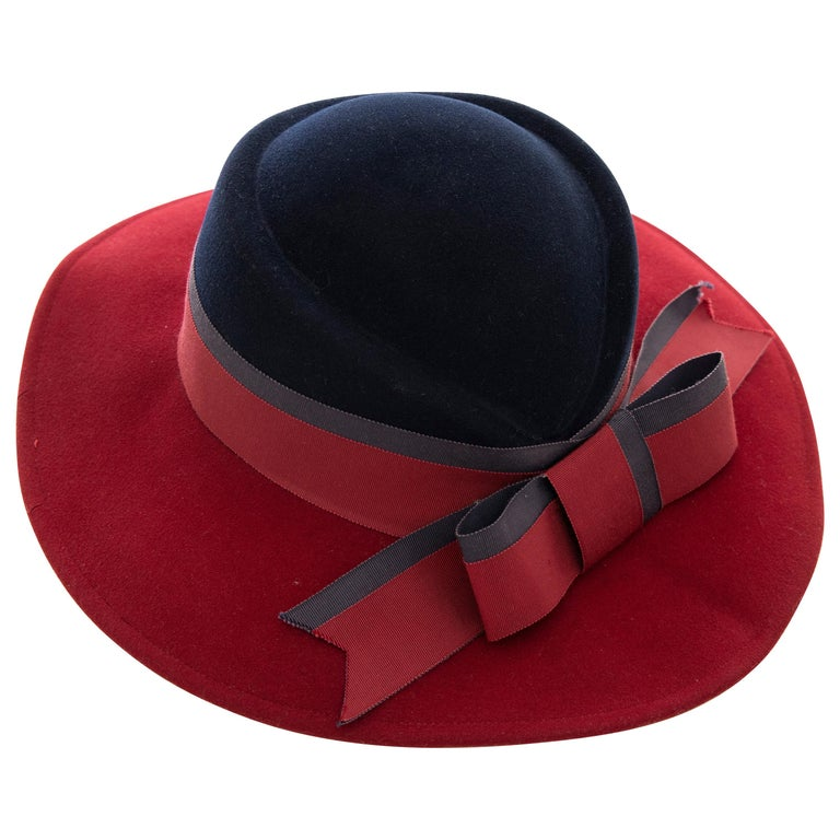 3d5084bb13f Mr. John Classic Navy Blue & Burgundy Wool Felt Fedora, Circa: 1970's For