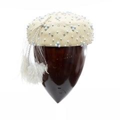 Mr. John Classic Woven Prong Set Crystals Feather Skull Cap, Circa: 1970's
