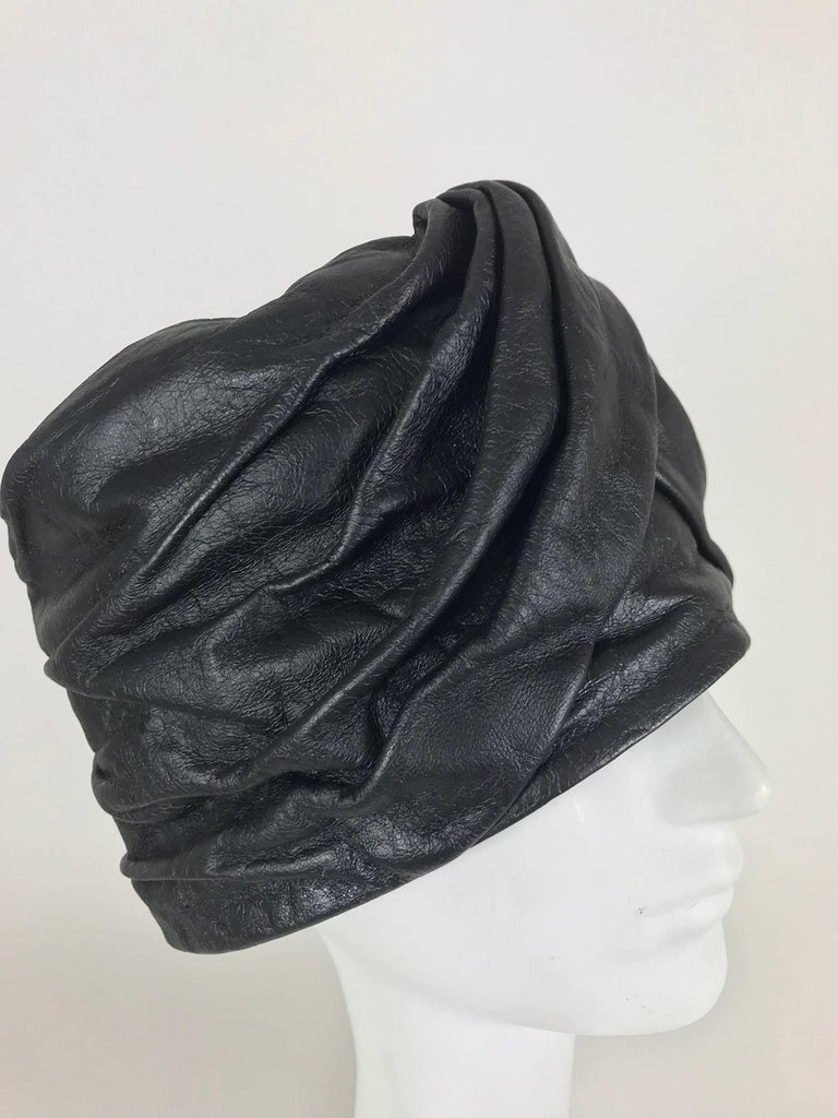 Mr John Jr black leather turban style hat, 1960s For Sale 5