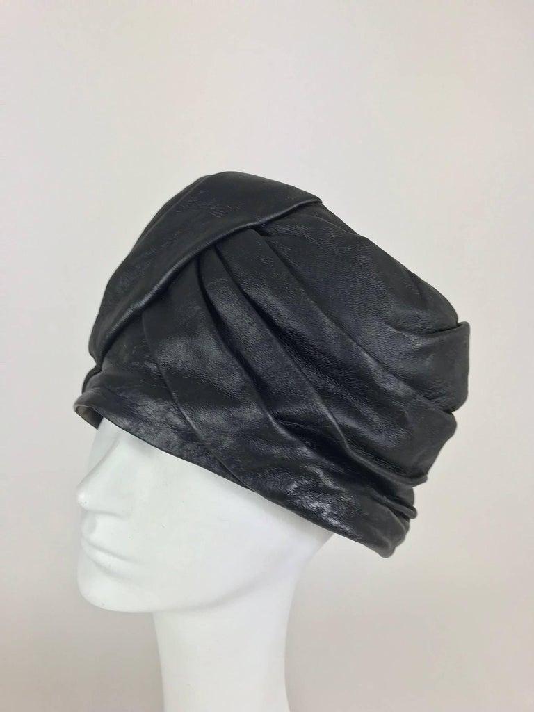 Black Mr John Jr black leather turban style hat, 1960s For Sale
