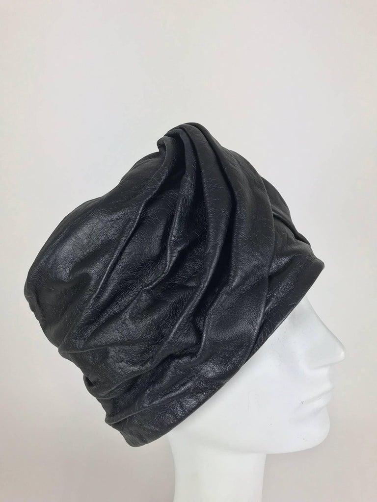 Women's Mr John Jr black leather turban style hat, 1960s For Sale