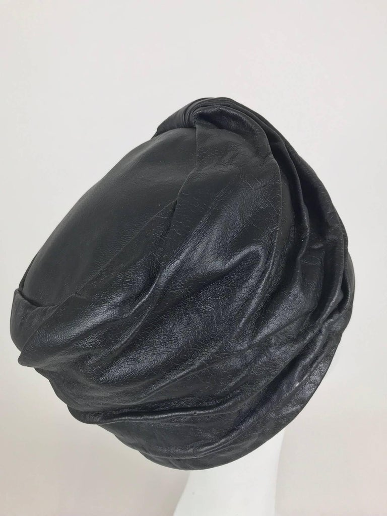 Mr John Jr black leather turban style hat, 1960s For Sale 1