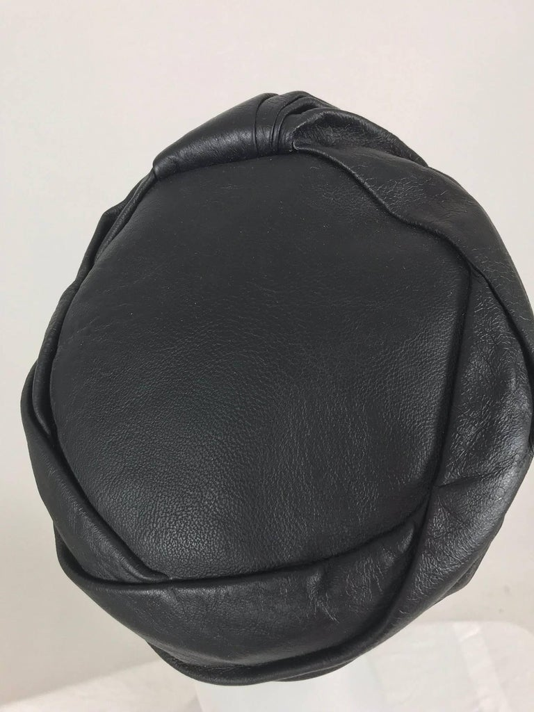 Mr John Jr black leather turban style hat, 1960s For Sale 2