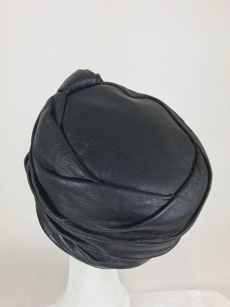 Mr John Jr black leather turban style hat, 1960s For Sale 3