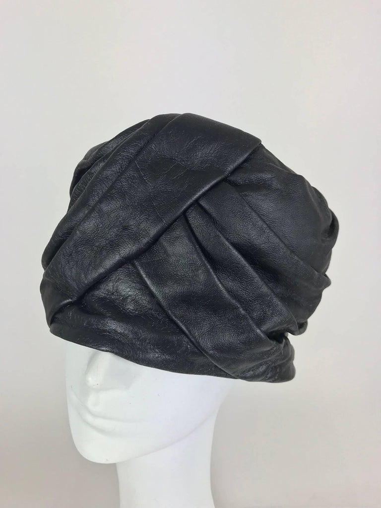 Mr John Jr black leather turban style hat, 1960s For Sale 4