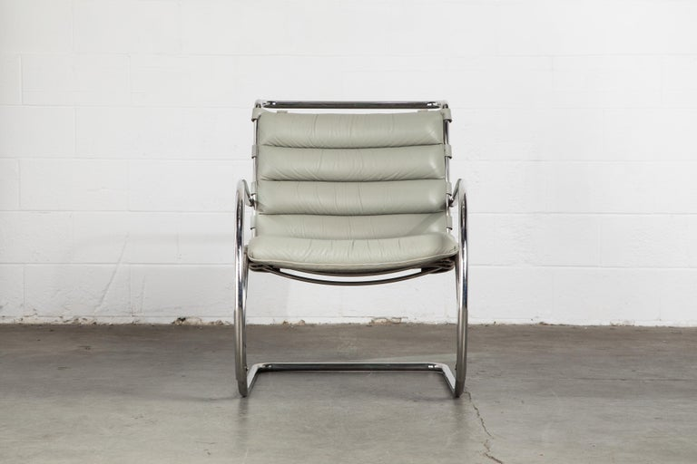 An incredible collectors item, this rare early production 'MR' lounge armchair by Ludwig Mies van der Rohe for Knoll International, date stamped Jan 21, 1988 production, with original Knoll International labels to the underside of the seat cushion.