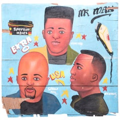 """Mr. Man"" Hand Painted African Barbershop Sign"