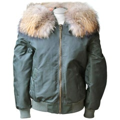 Mr & Mrs Italy Fox & Racoon Fur Bomber Jacket