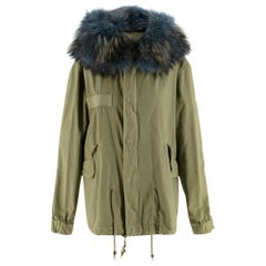 Mr & Mrs Italy Green Parka Coat with Blue Racoon Fur Hood SIZE XS