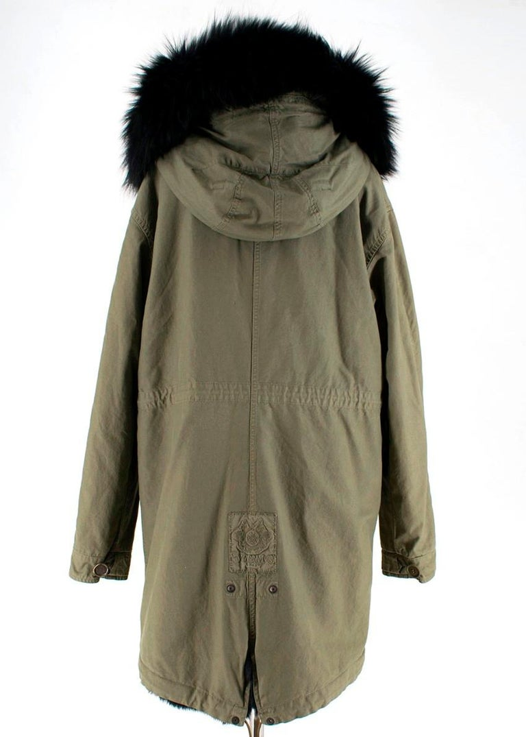 Mr And Mrs Italy Khaki Parka With Fox Fur Lining M For Sale At 1stdibs