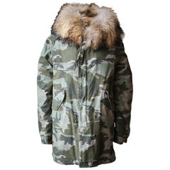 Mr & Mrs Italy Raccoon Fur-Lined Camouflage Parka Jacket