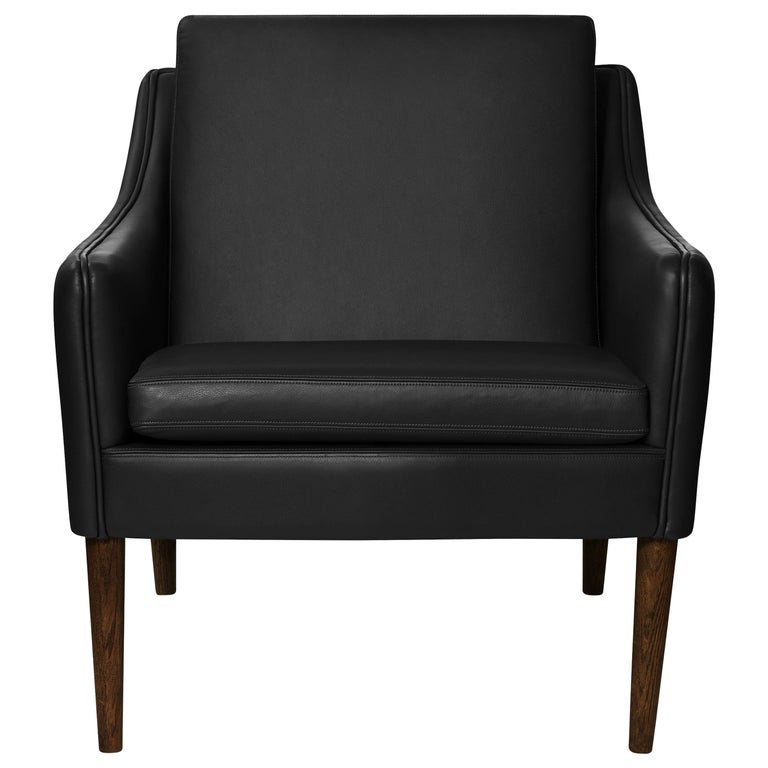 For Sale: Black (Challenger Black) Mr. Olsen Lounge Chair with Walnut Legs, by Hans Olsen from Warm Nordic