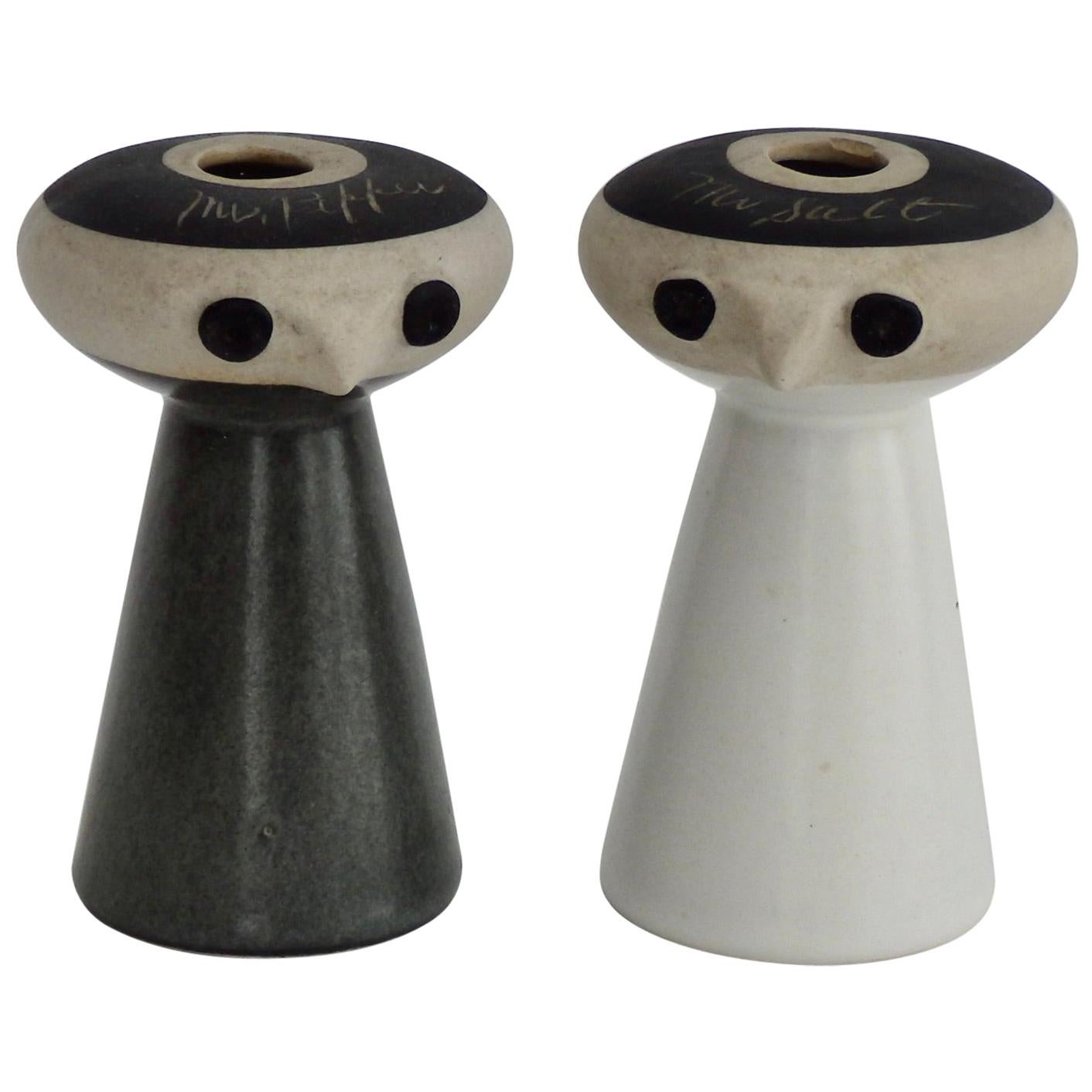 Mr Salt and Mrs Pepper Shakers by David Gil for Bennington Pottery Vermont