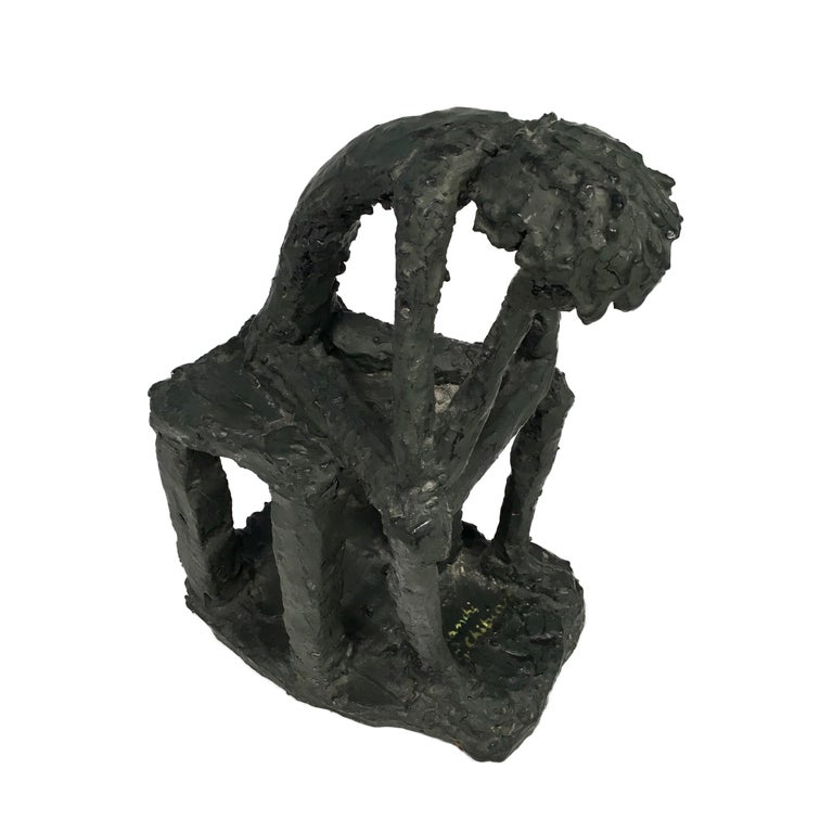 European Mr. Thinker Sculpture in Plaster Signed by Bianchi G. Chibian For Sale